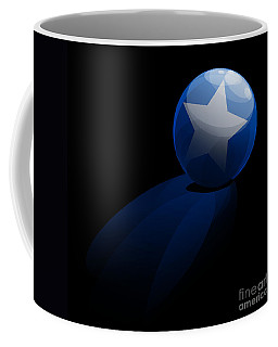 Coffee Mug featuring the digital art Blue Ball Decorated With Star Grass Black Background by R Muirhead Art