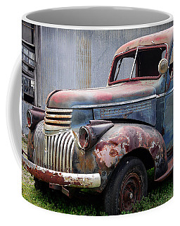 Coffee Mug featuring the photograph Cool Blue Chevy by Steven Bateson