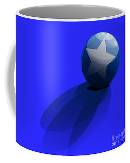 Coffee Mug featuring the digital art Blue Ball Decorated With Star Grass Blue Background by R Muirhead Art