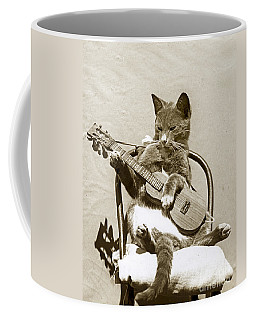 Coffee Mug featuring the photograph Cool Cat Playing A Guitar Circa 1900 Historical Photo By Photo  Henry King Nourse by California Views Mr Pat Hathaway Archives