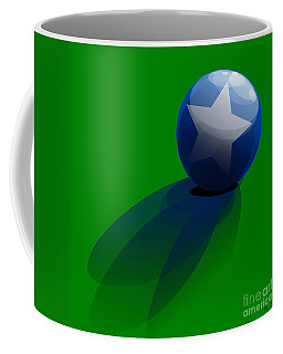 Coffee Mug featuring the digital art Blue Ball Decorated With Star Grass Green Background by R Muirhead Art