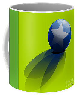 Coffee Mug featuring the digital art Blue Ball Decorated With Star Green Background by R Muirhead Art