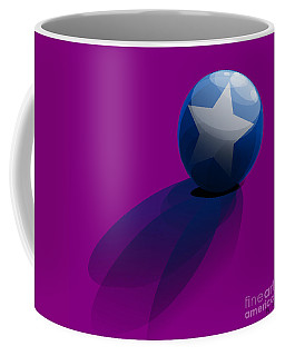 Coffee Mug featuring the digital art Blue Ball Decorated With Star Purple Background by R Muirhead Art