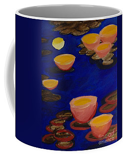 Coffee Mug featuring the painting Coral Lily Pond by Anita Lewis