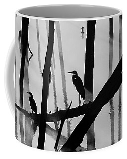 Cormorant And The Heron  Bw Coffee Mug by Roger Becker
