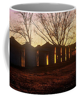 Coffee Mug featuring the photograph Corn Cribs At Sunset by Rodney Lee Williams
