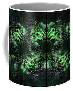 Cosmic Alien Eyes Green Coffee Mug