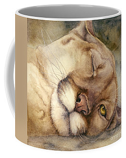 Coffee Mug featuring the painting Cougar    I See You     by Bonnie Rinier