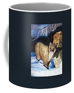 Cougar In Snow Coffee Mug