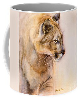 Coffee Mug featuring the painting Cougar On The Prowl by Bonnie Rinier