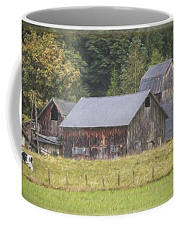 Coffee Mug featuring the painting Country Art - Rustic Old Barns With Cow In The Pasture by Jordan Blackstone