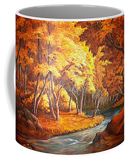 Country Stream In The Fall Coffee Mug by Loxi Sibley