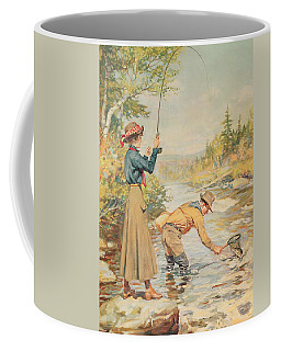 Couple Fishing On A River Coffee Mug