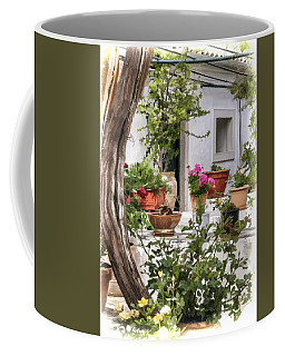 Coffee Mug featuring the photograph Painted Effect - Courtyard by Susan Leonard