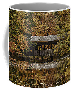 Coffee Mug featuring the photograph Covered Bridge At Sturbridge Village by Jeff Folger