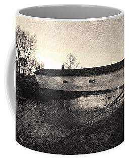 Coffee Mug featuring the photograph Covered Bridge Elizabethton Tennessee C. 1882 Sepia by Denise Beverly