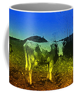 Coffee Mug featuring the digital art Cow On Lsd by Cathy Anderson