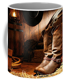 Cowboy Boots In A Ranch Barn Coffee Mug