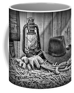 Cowboy Hat And Rodeo Lasso In A Black And White Coffee Mug
