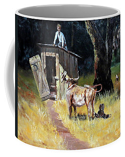 Cowboy On The Outhouse  Coffee Mug by Lee Piper