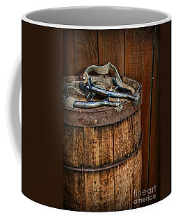 Cowboy Spurs On Wooden Barrel Coffee Mug