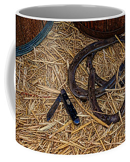 Cowboy Theme - Horseshoes And Whittling Knife Coffee Mug