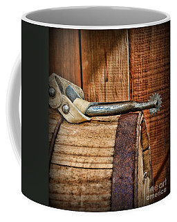 Cowboy Themed Wood Barrel And Spur Coffee Mug