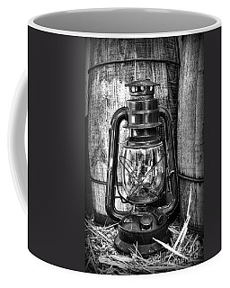Cowboy Themed Wood Barrels And Lantern In Black And White Coffee Mug