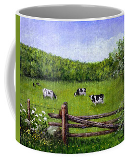 Coffee Mug featuring the painting Cows In The Pasture by Sandra Estes