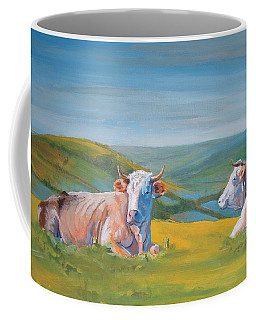 Cows Lying Down Painting Coffee Mug