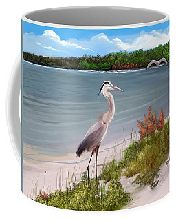 Crane By The Sea Shore Coffee Mug by Anthony Fishburne