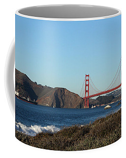 Crashing Waves And The Golden Gate Bridge Coffee Mug