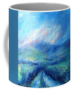 Coffee Mug featuring the painting Crecrin Laneway To The Wicklow Mts. by Trudi Doyle