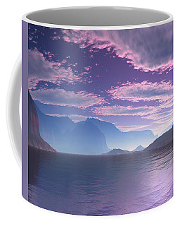 Coffee Mug featuring the digital art Crescent Bay Alien Landscape by Judi Suni Hall