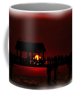 Coffee Mug featuring the digital art Crimson Sunset Painting by Richard Zentner