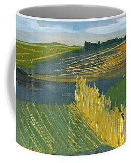 Coffee Mug featuring the painting Crop Fields by Erin Fickert-Rowland