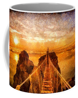 Coffee Mug featuring the painting Cross That Bridge by Catherine Lott