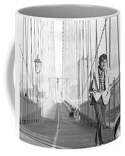Coffee Mug featuring the photograph Crossing Brooklyn Bridge by Dave Beckerman