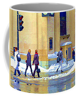 Coffee Mug featuring the painting Crossing St Catherine At Drummond Downtown Montreal Centre Ville Urban Winter Street Scene Cspandau  by Carole Spandau