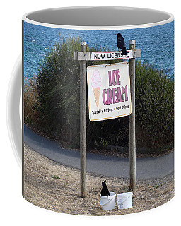 Coffee Mug featuring the photograph Crow In The Bucket by Cheryl Hoyle