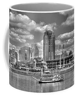 Coffee Mug featuring the photograph Cruising By Cincinnati 4 Bw by Mel Steinhauer