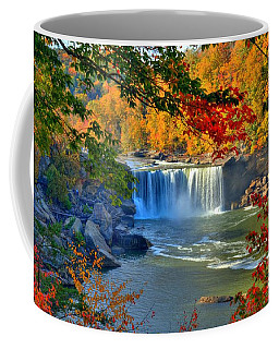 Coffee Mug featuring the photograph Cumberland Falls In Autumn 2 by Mel Steinhauer