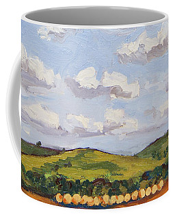 Coffee Mug featuring the painting Cumulus Clouds Over Flint Hills by Erin Fickert-Rowland