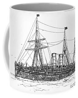 Coffee Mug featuring the drawing Cunard Liner Umbria 1880's by Ira Shander