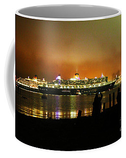 Coffee Mug featuring the photograph Cunard's 3 Queens by Terri Waters