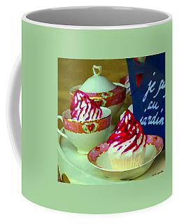 Cupcakes And Tea Je Suis Au Jardin Coffee Shop City Scene Cafe Montreal Food  Art Carole Spandau Coffee Mug by Carole Spandau