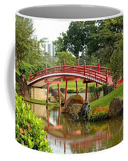 Curved Red Japanese Bridge And Stream Chinese Gardens Singapore Coffee Mug