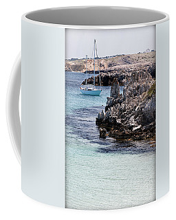 In Cala Pudent Menorca The Cutting Rocks In Contrast With Turquoise Sea Show Us An Awsome Place Coffee Mug