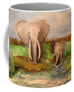 Coffee Mug featuring the painting Daddy's Boy by Laurie Lundquist