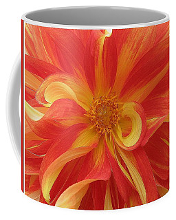 Dahlia Unfurling In Yellow And Red Coffee Mug by Dora Sofia Caputo Photographic Art and Design